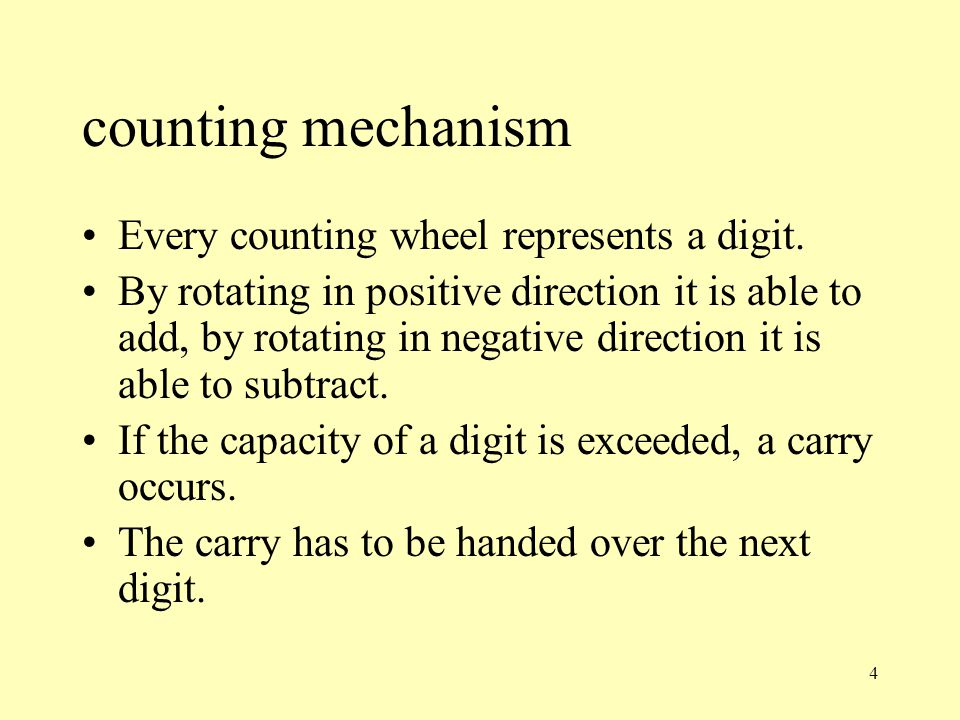 counting mechanism Every counting wheel represents a digit.