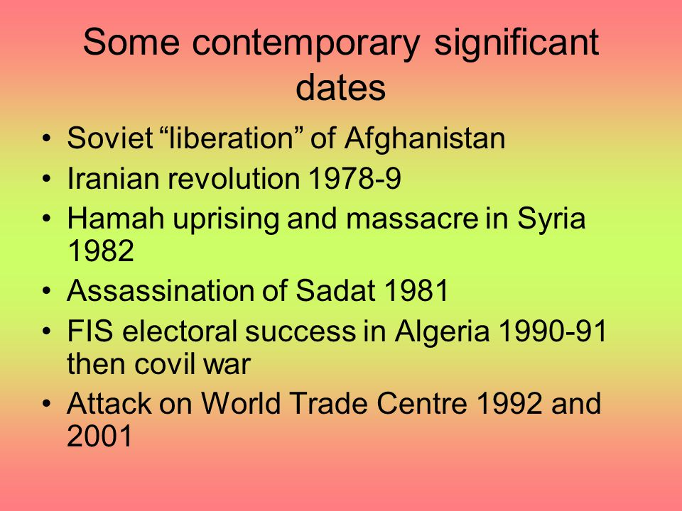 Some contemporary significant dates