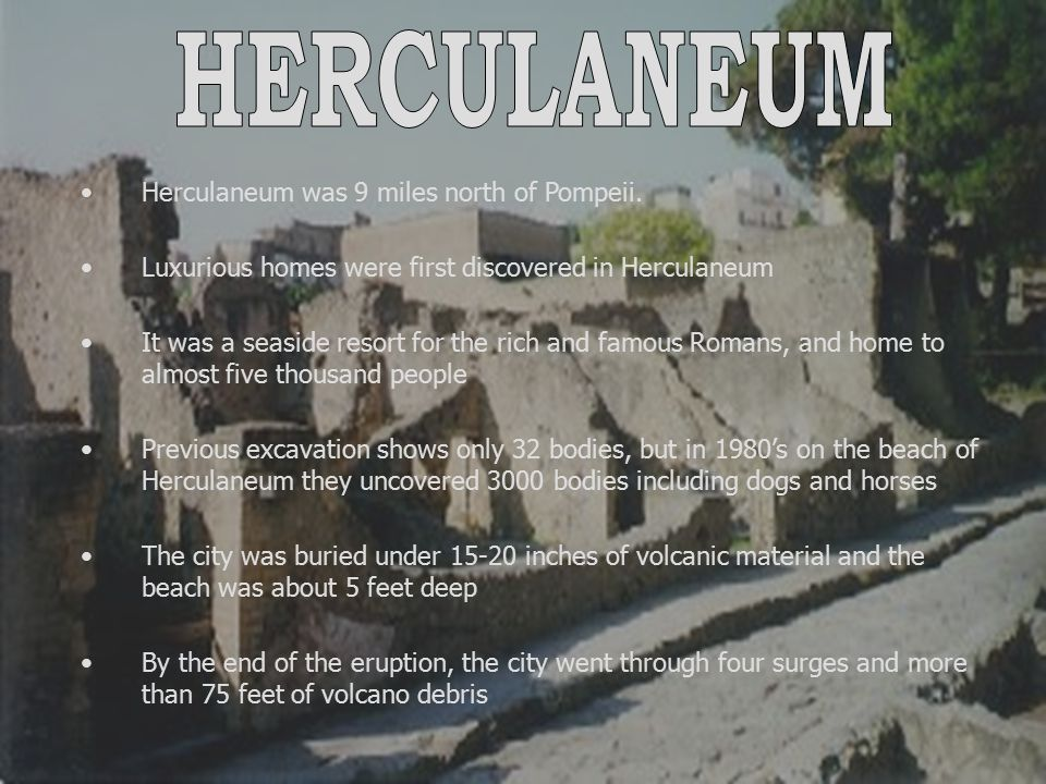 HERCULANEUM Herculaneum was 9 miles north of Pompeii.