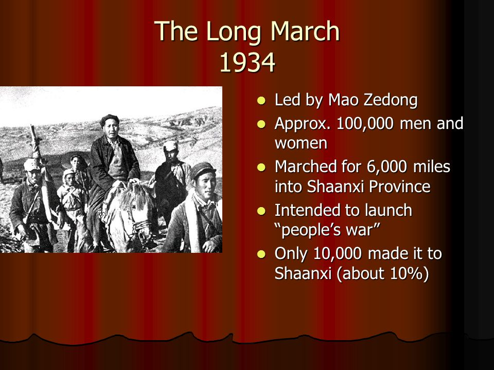 The Long March 1934 Led by Mao Zedong Approx. 100,000 men and women