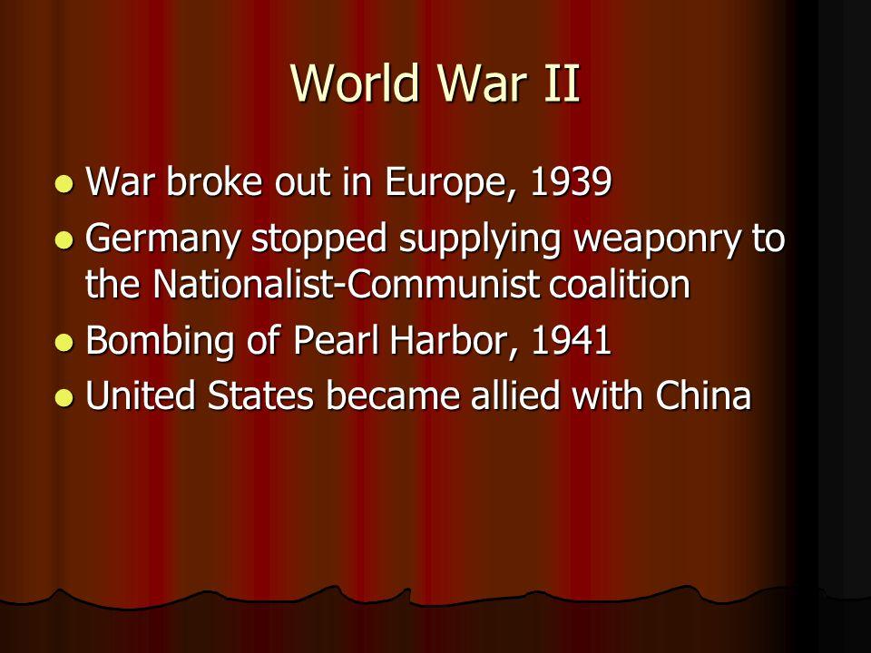 World War II War broke out in Europe, 1939