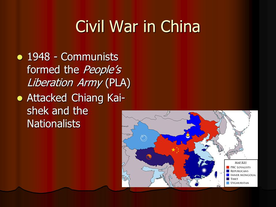 Civil War in China 1948 - Communists formed the People's Liberation Army (PLA) Attacked Chiang Kai-shek and the Nationalists.
