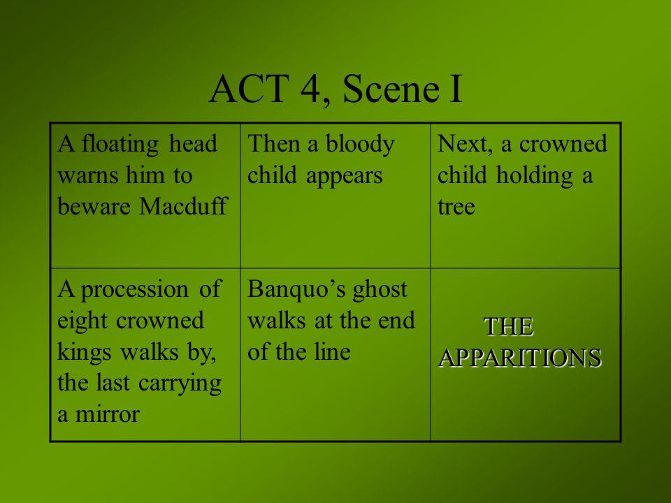 ACT 4, Scene I A floating head warns him to beware Macduff