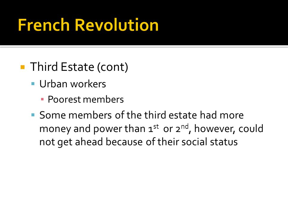 French Revolution Third Estate (cont) Urban workers