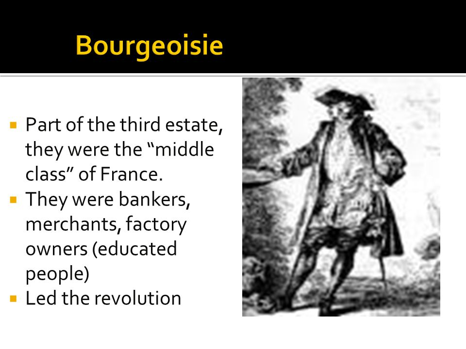 Bourgeoisie Part of the third estate, they were the middle class of France. They were bankers, merchants, factory owners (educated people)