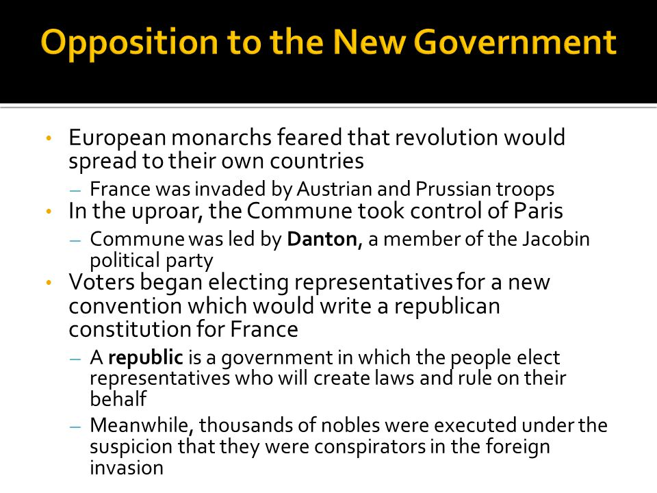 Opposition to the New Government