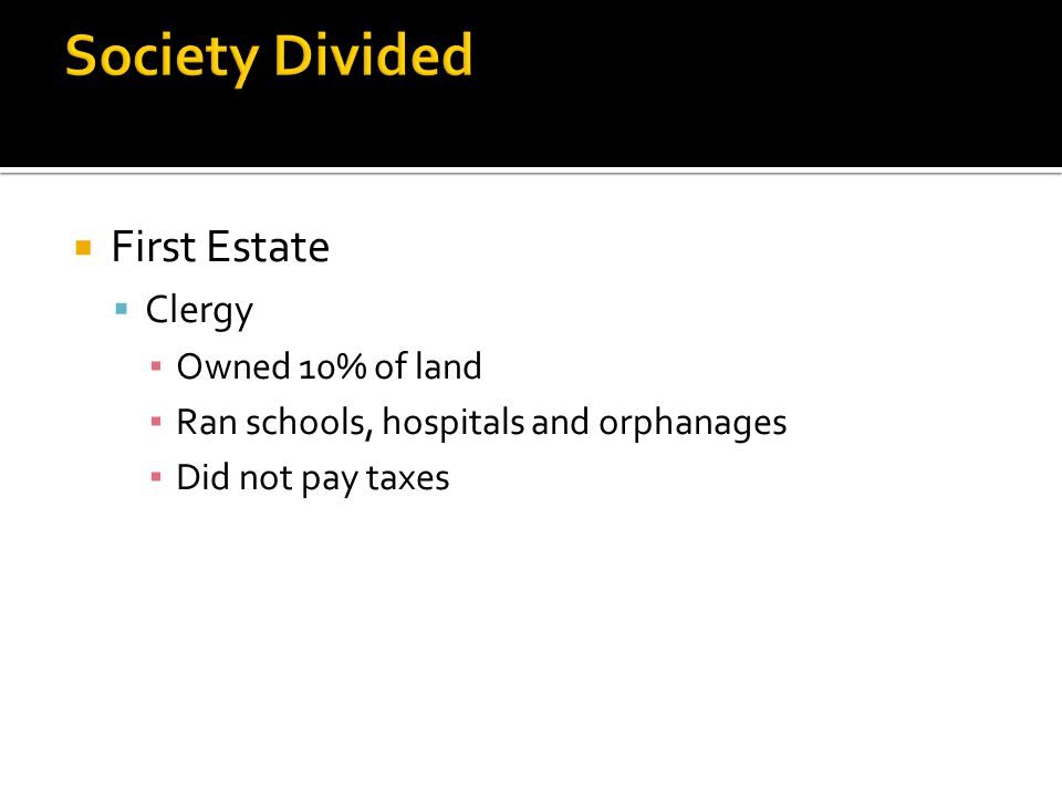 Society Divided First Estate Clergy Owned 10% of land