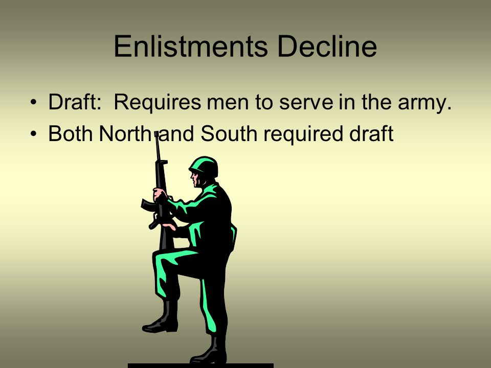 Enlistments Decline Draft: Requires men to serve in the army.