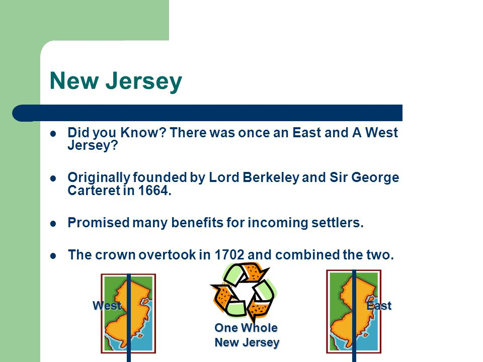 New Jersey Did you Know There was once an East and A West Jersey