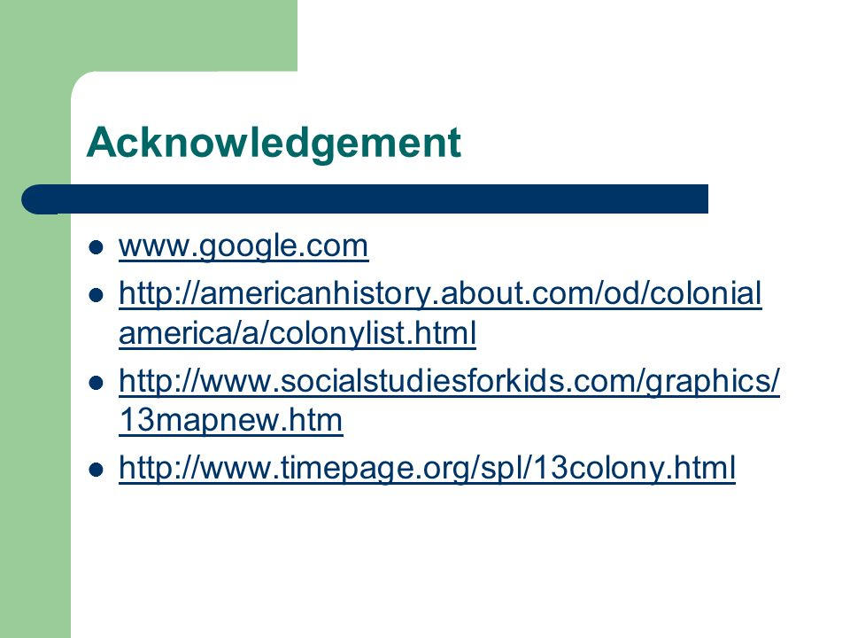 Acknowledgement www.google.com