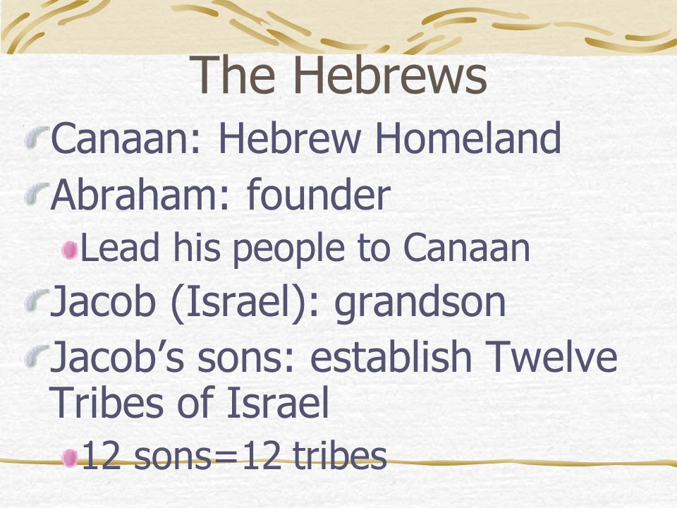 The Hebrews Canaan: Hebrew Homeland Abraham: founder