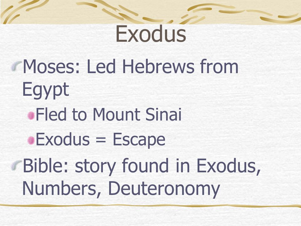 Exodus Moses: Led Hebrews from Egypt