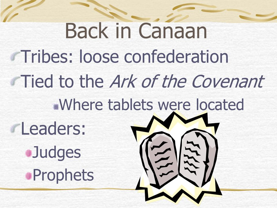 Back in Canaan Tribes: loose confederation