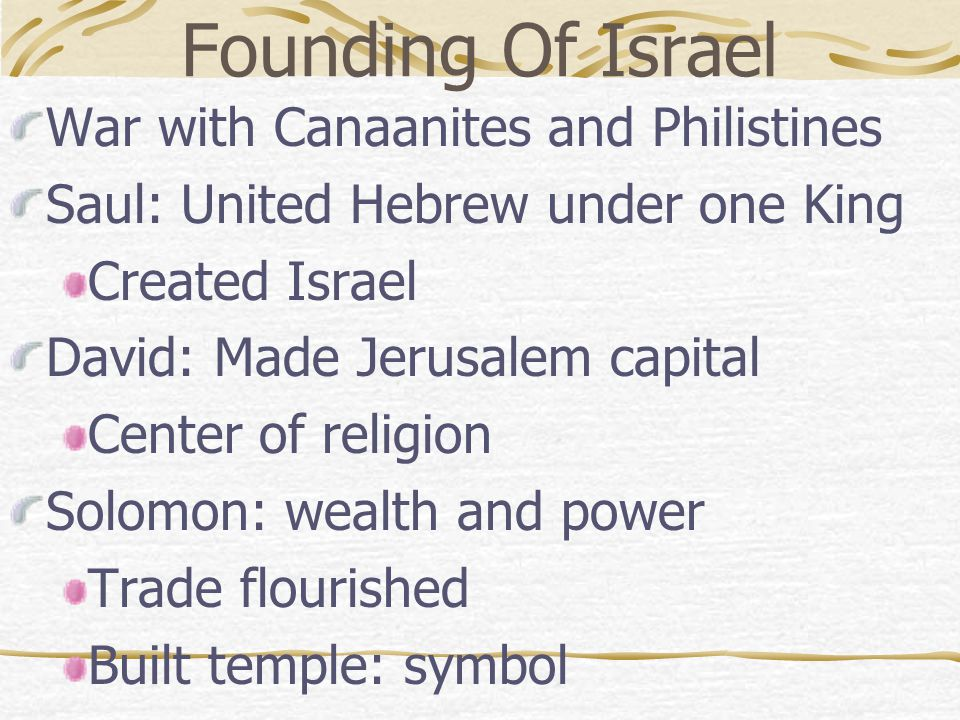 Founding Of Israel War with Canaanites and Philistines