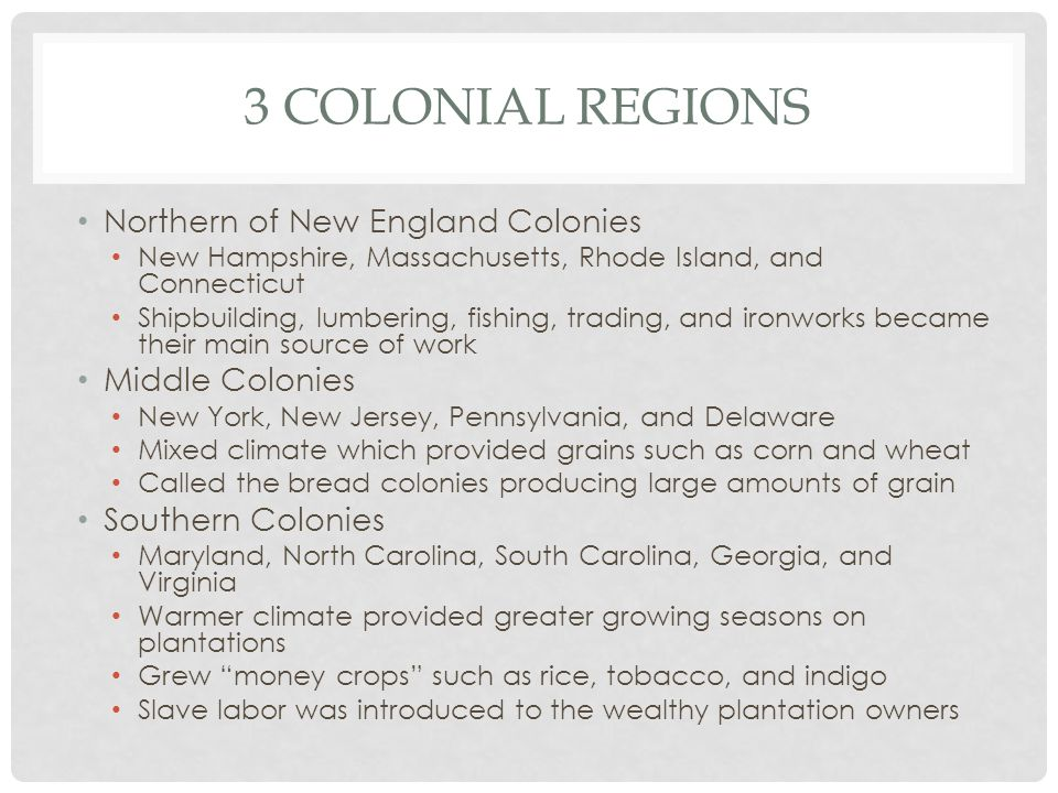 3 Colonial Regions Northern of New England Colonies Middle Colonies