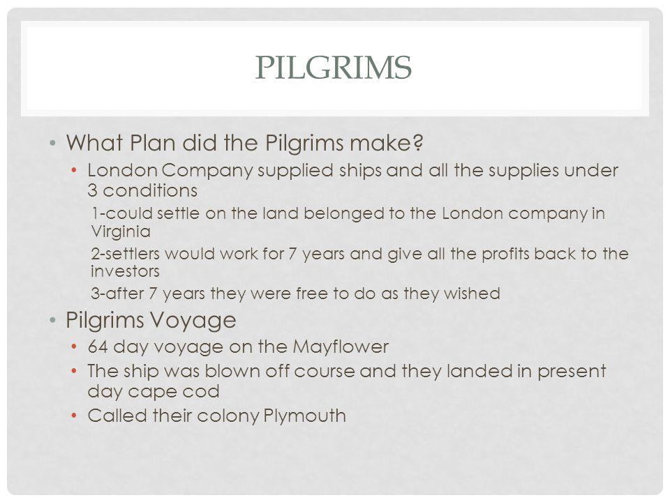 Pilgrims What Plan did the Pilgrims make Pilgrims Voyage