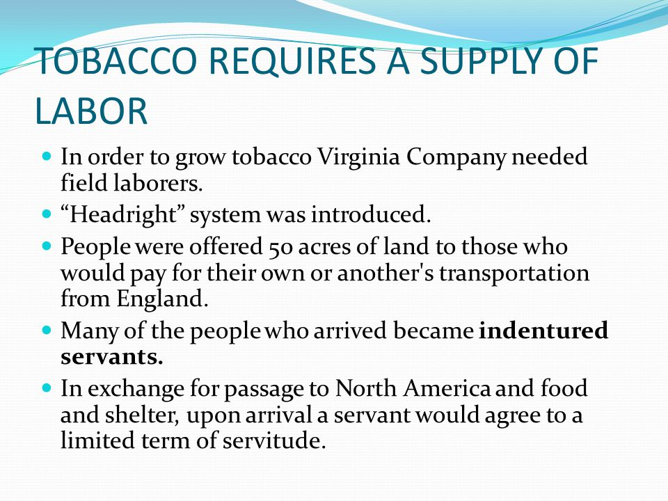TOBACCO REQUIRES A SUPPLY OF LABOR