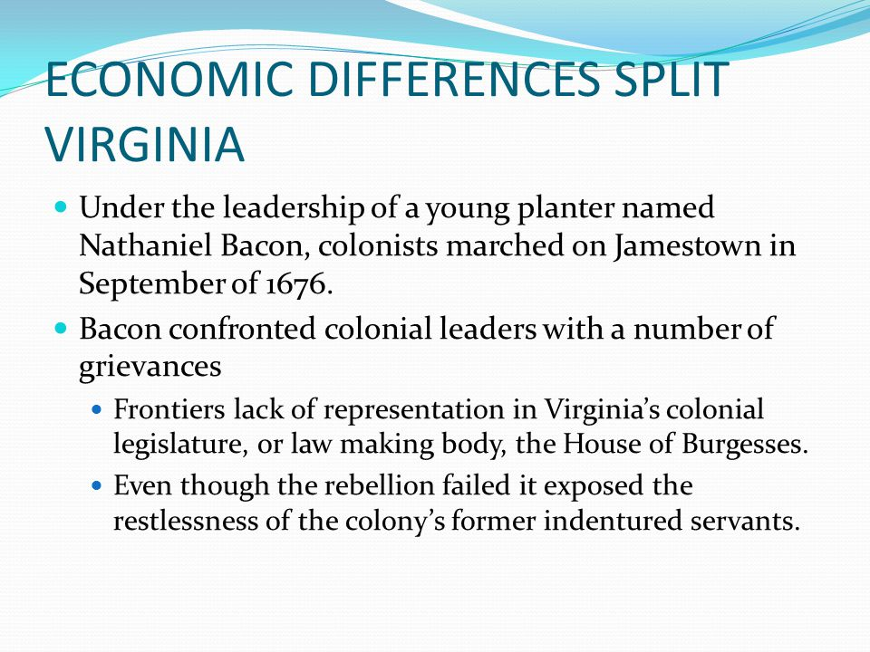 ECONOMIC DIFFERENCES SPLIT VIRGINIA