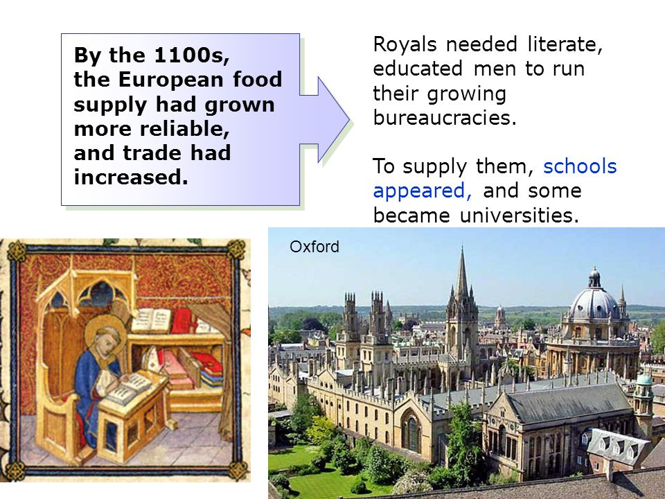 To supply them, schools appeared, and some became universities.
