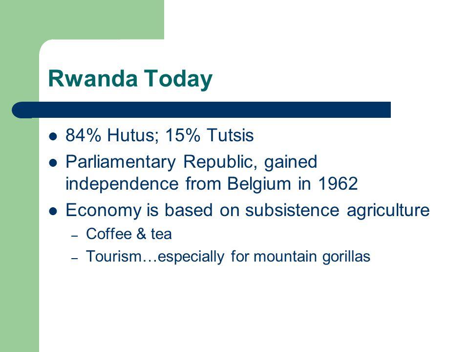 Rwanda Today 84% Hutus; 15% Tutsis