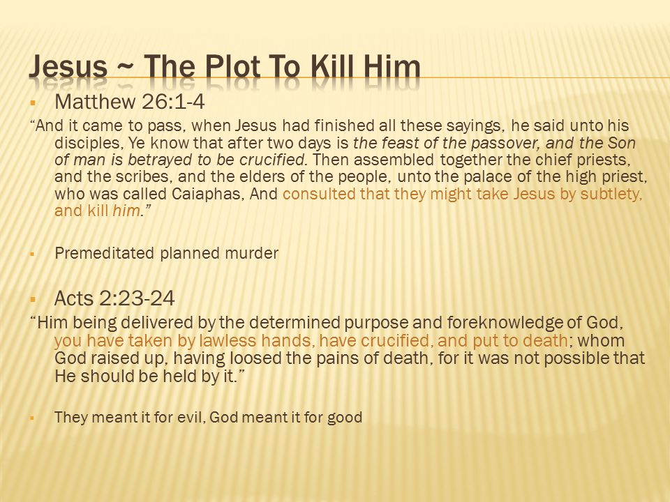 Jesus ~ The Plot To Kill Him