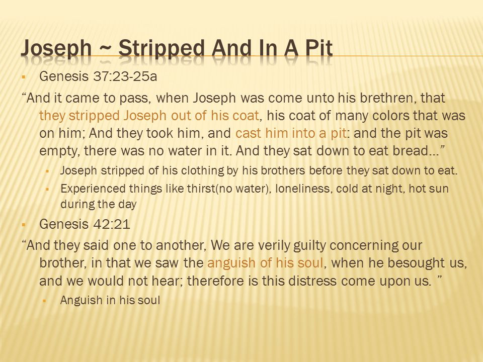 Joseph ~ Stripped And In A Pit