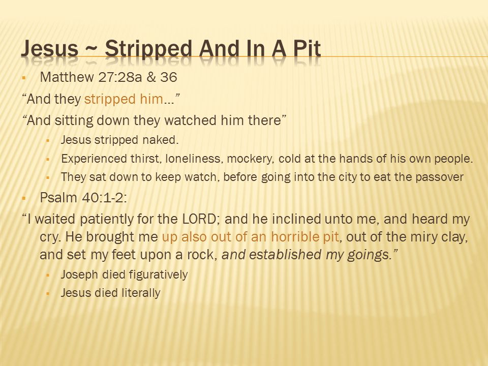 Jesus ~ Stripped And In A Pit