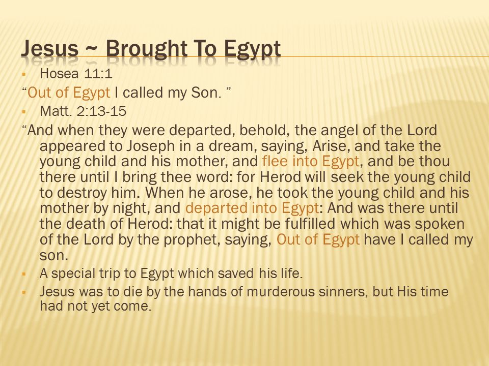 Jesus ~ Brought To Egypt