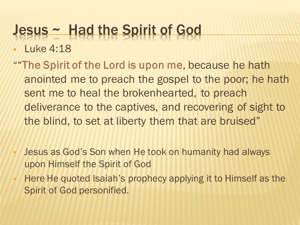 Jesus ~ Had the Spirit of God