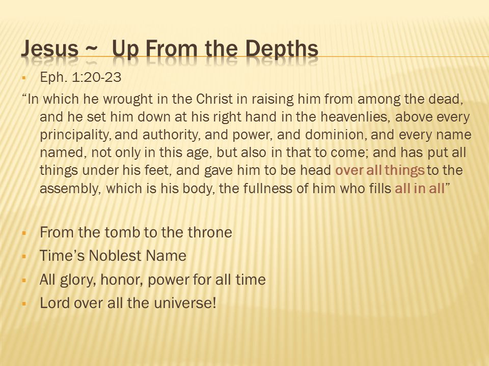 Jesus ~ Up From the Depths