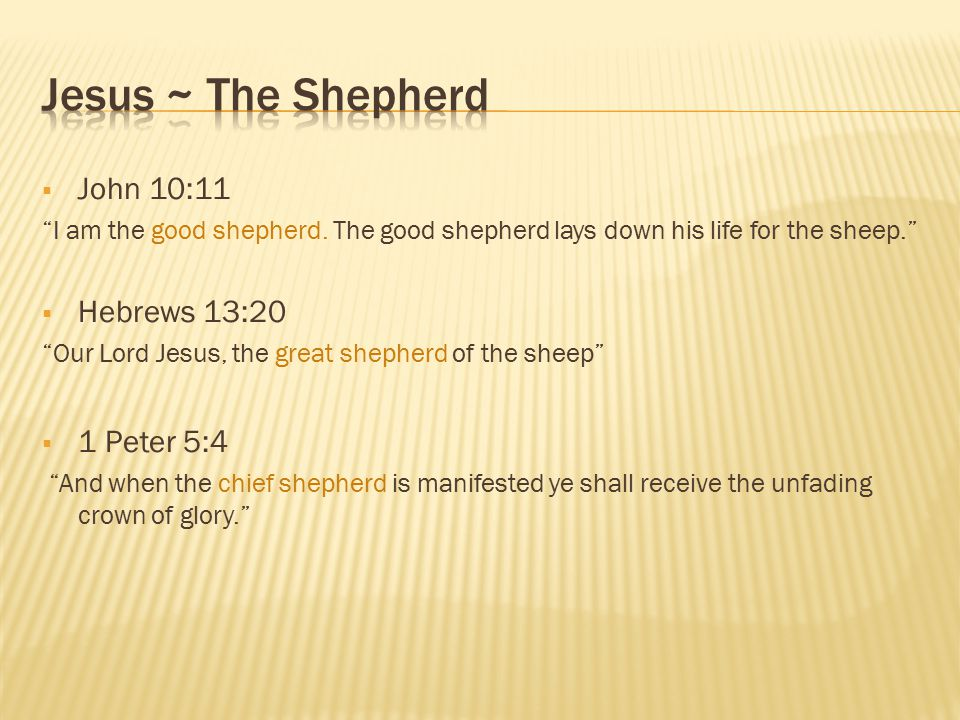 Jesus ~ The Shepherd John 10:11 Hebrews 13:20 1 Peter 5:4