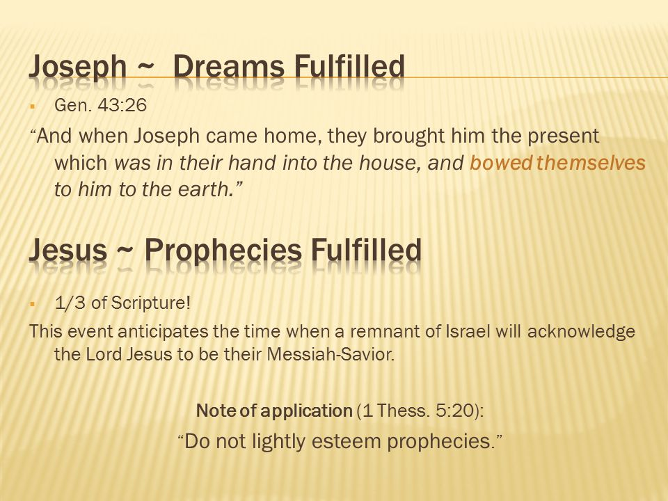 Joseph ~ Dreams Fulfilled