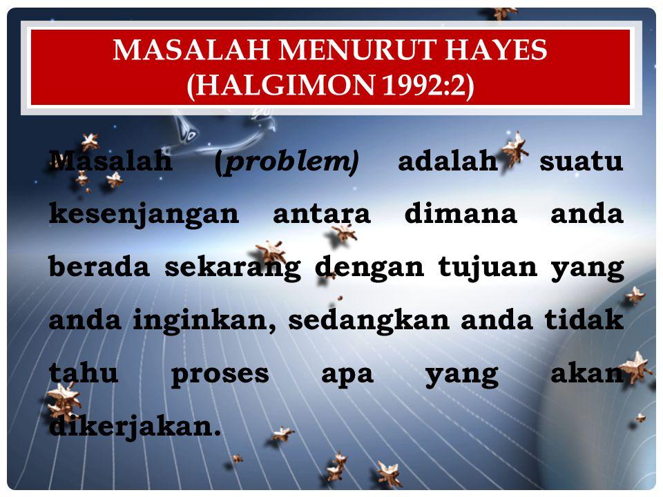 Masalah menurut hayes (Halgimon 1992:2)