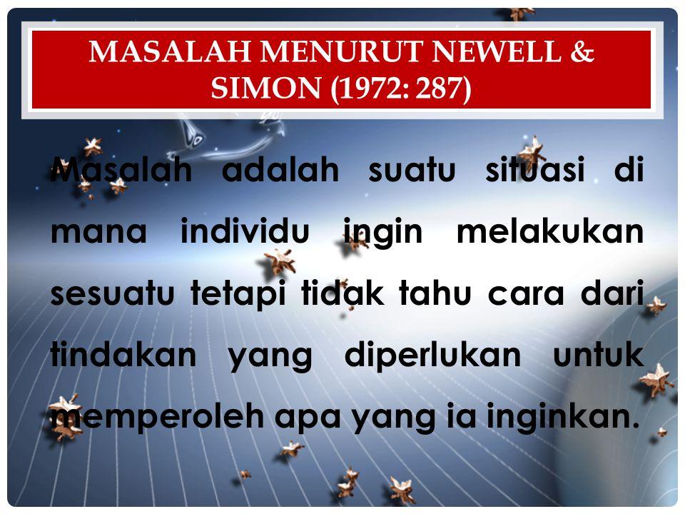 Masalah menurut Newell & Simon (1972: 287)