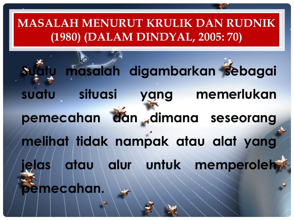 Masalah menurut Krulik dan Rudnik (1980) (dalam Dindyal, 2005: 70)