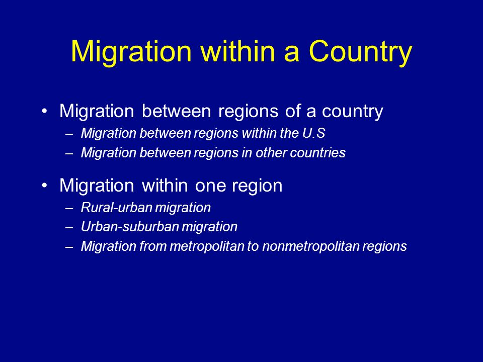 Migration within a Country