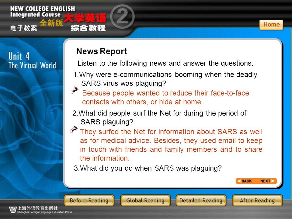 BR4.41 News Report. Listen to the following news and answer the questions. 1.Why were e-communications booming when the deadly.