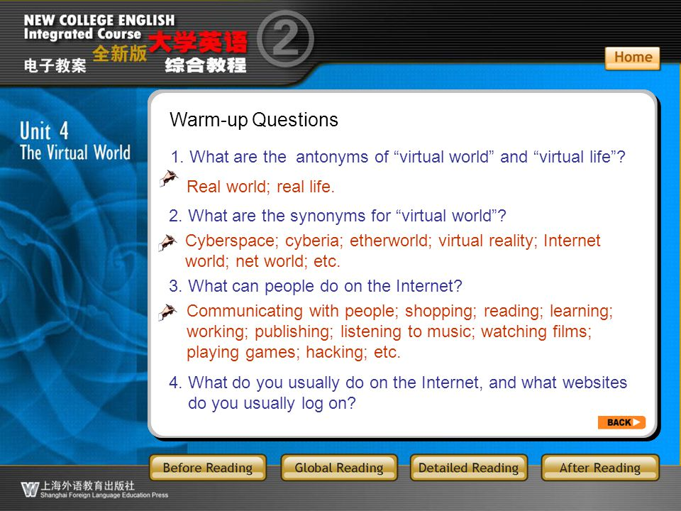 BR5.1 Warm-up Questions. 1. What are the antonyms of virtual world and virtual life Real world; real life.