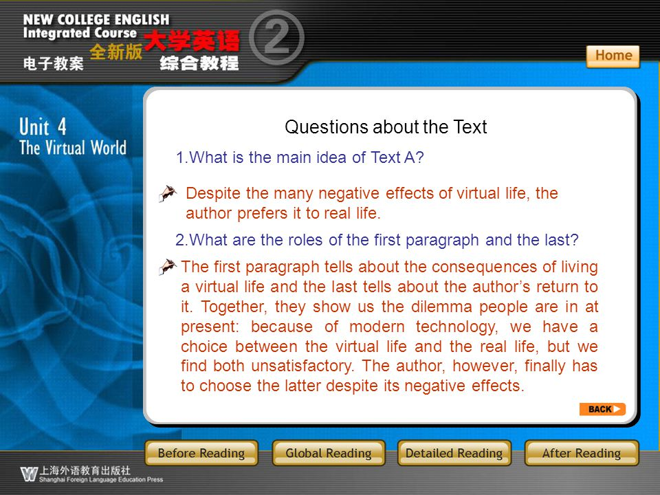 GR-2.Q1 Questions about the Text 1.What is the main idea of Text A