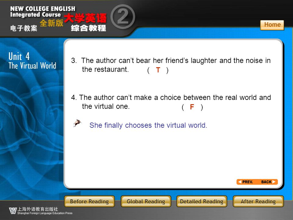 GR-Part3T/F2 3. The author can't bear her friend's laughter and the noise in the restaurant. ( )