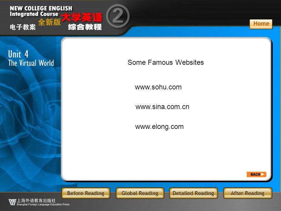 BR3.1 Some Famous Websites www.sohu.com www.sina.com.cn www.elong.com