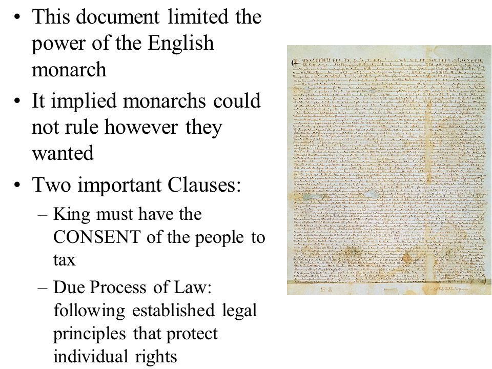 This document limited the power of the English monarch