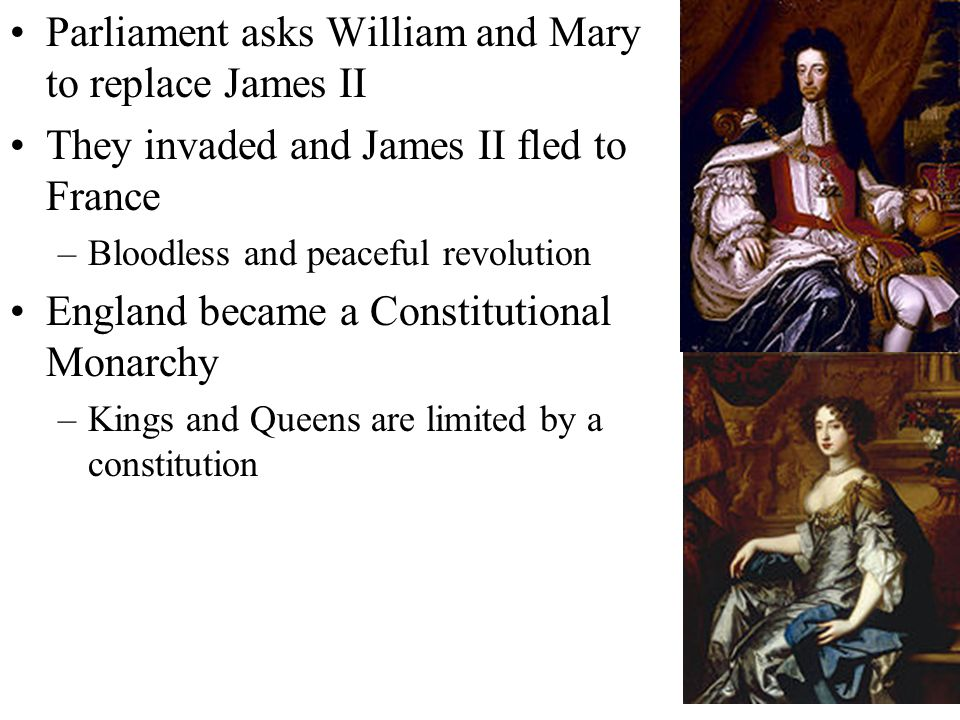 Parliament asks William and Mary to replace James II