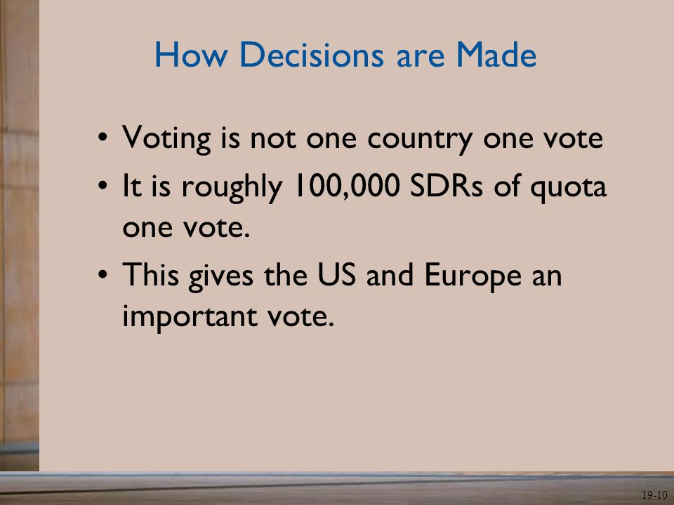 How Decisions are Made Voting is not one country one vote