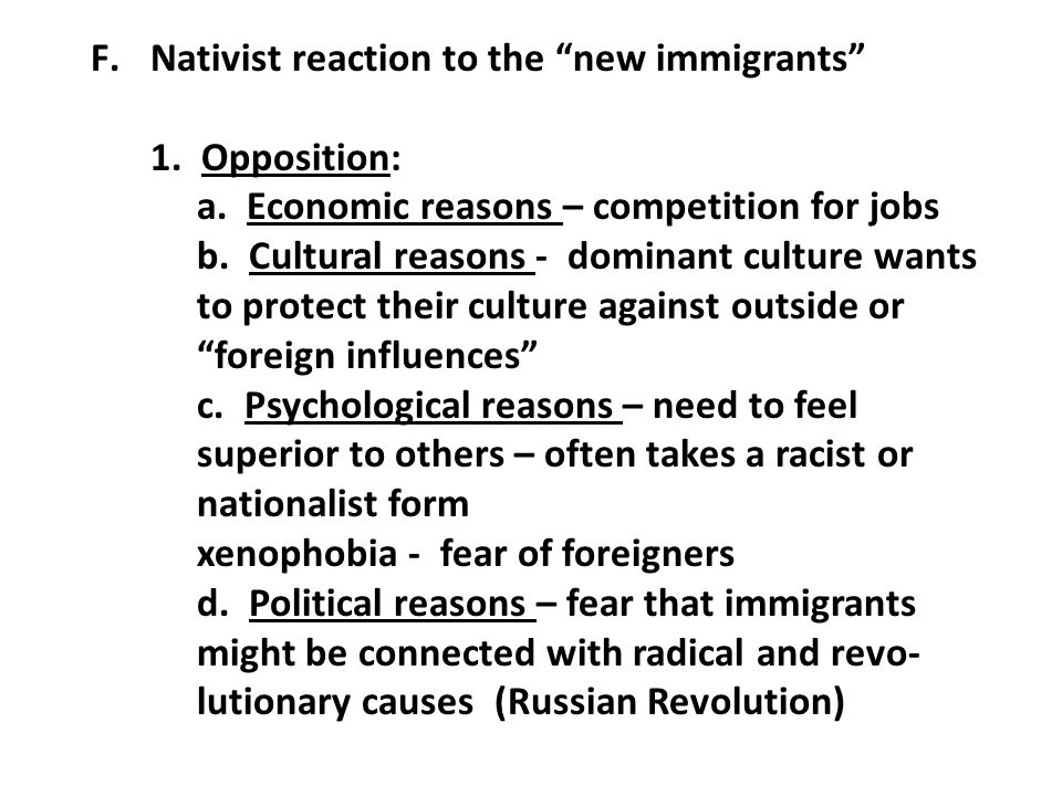 Nativist reaction to the new immigrants