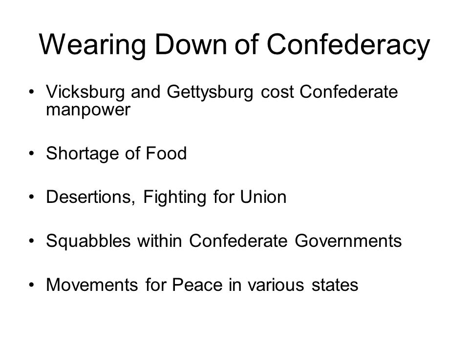 Wearing Down of Confederacy