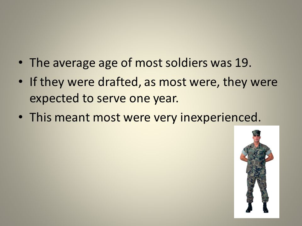 The average age of most soldiers was 19.
