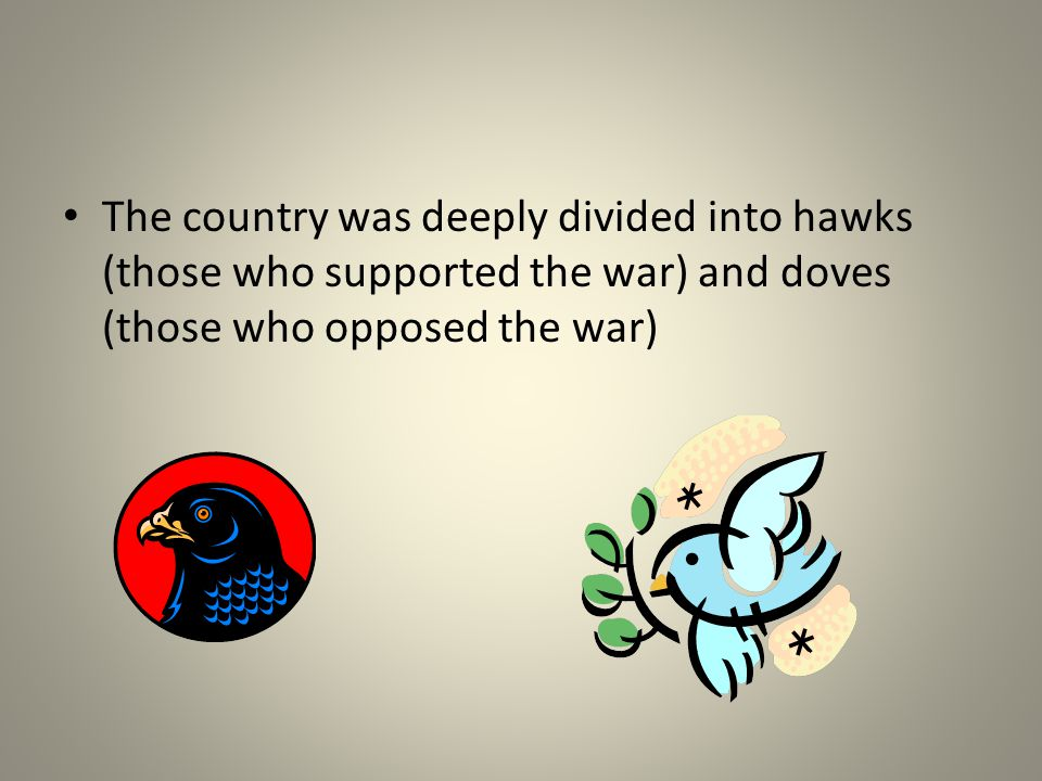 The country was deeply divided into hawks (those who supported the war) and doves (those who opposed the war)