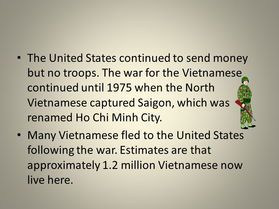 The United States continued to send money but no troops