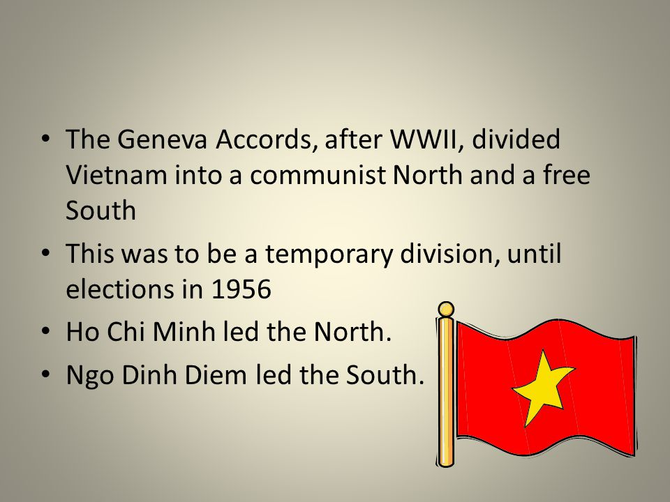 The Geneva Accords, after WWII, divided Vietnam into a communist North and a free South